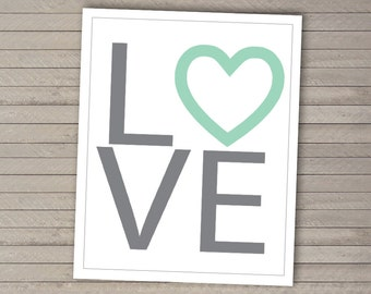 LOVE Art Print -- Digital File -- Printable -- Choose your size and colors!