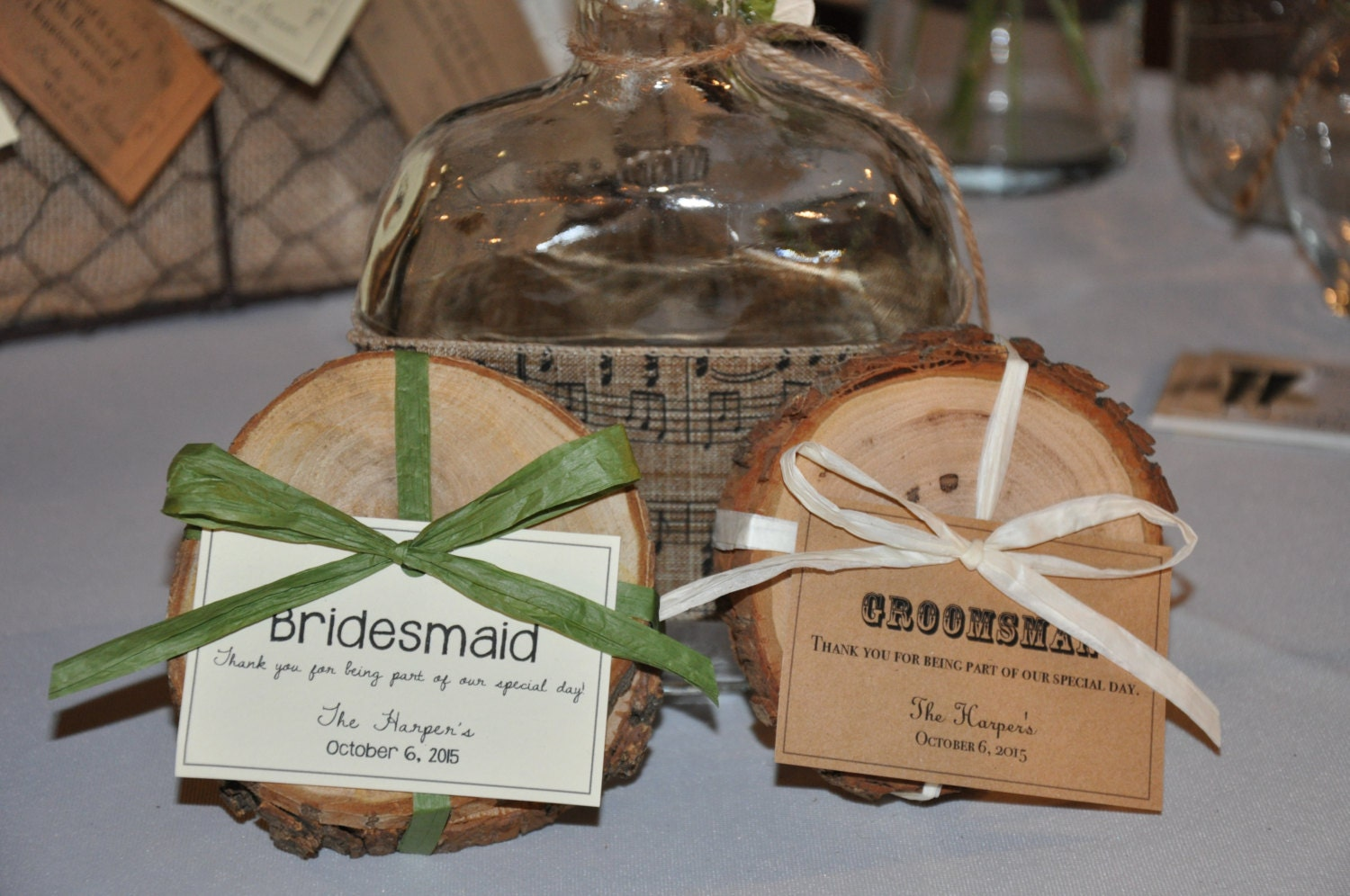 Set Of 2 Wood Coasters Rustic Wedding Favors Bridal Party Or