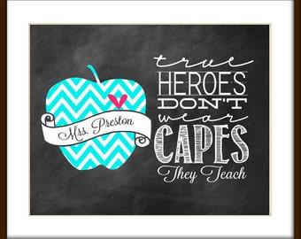 Teacher Gift - School Gift - Teacher Appreciation Gift - Back to School - Student Gift - CHALKBOARD Style Printable