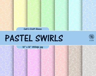 Pastel Swirls Digital Papers - 14 pastel colors with white swirls - pastel backgrounds in soft colors - Commercial Use (PP001)