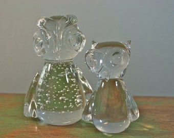 Couple of Clear Glass Owls
