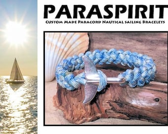 Nautical Bracelet / Rope / Surfer / Beach / Paracord Bracelet with Silver Whale Tail