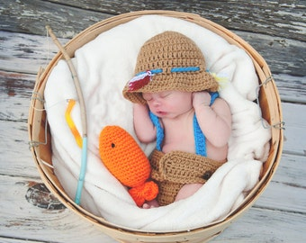 Little Fishing Buddy Crochet Photo Prop Made in the USA