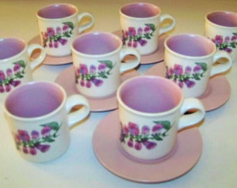 Pfaltzgraff Cape May Set Of Eight Cups & Five Saucers