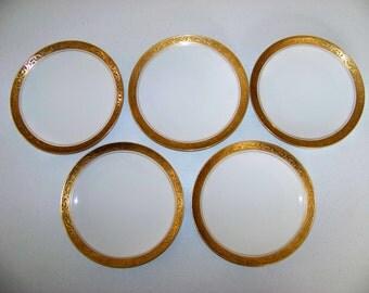 Jaeger and Co.  J & C Bavaria Gold Trim Design Set Of Five Plates