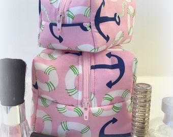 Pink Anchor Makeup Bag Set, Mommy and Me Makeup Set, Pink Makeup Set , Nautical Makeup Bags, Monogram Makeup Bag, Gift Under 30
