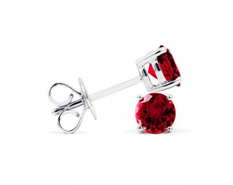 Classic 9ct White Gold Ruby Stud Earrings