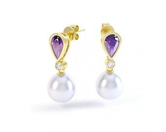 Freshwater Cultured Pearl, Amethyst & Diamond Earrings