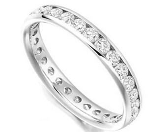 White Gold Eternity Ring, Handmade, Genuine Diamonds