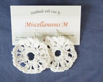 Crochet Round Earrings, White