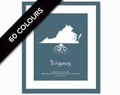 Virginia Roots - State Map Art Print - Virginia Map - Geography Poster - Virginia Art Print - Virginia Poster - Travel Art  - Custom State
