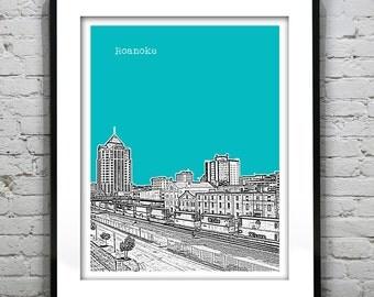 Roanoke Virginia Skyline Poster Art Print VA Version 1