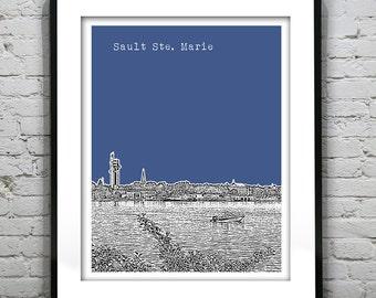 1 Day Only Sale 10% Off - Sault Ste. Marie Skyline Art Print Poster Michigan MI Version 1