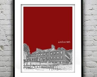 Umass Amherst Massachusetts Skyline Poster Art Print MA Version 2