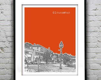 Gloucester Skyline Poster Art Print Massachusetts MA Version 3