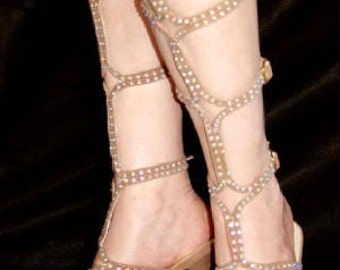 Gladiator Shoes Rhinestone Stone Color Tan