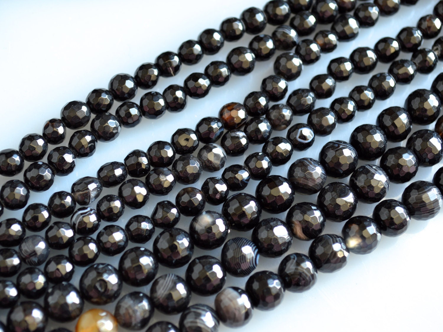 What Color Is Onyx Gemstone : Black agate onyx faceted round beads natural color