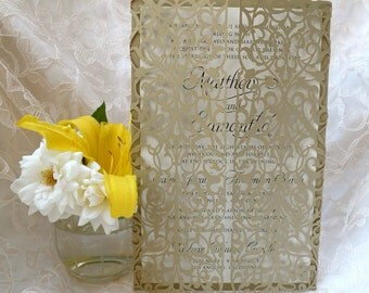 Laser Cut Gatefold Wedding Invitations - Invitation Suite -  Custom Handmade Invitations - Laser Cut Gate Fold Invitation