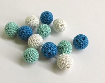 Crocheted beads 14 mm - small round handmade beads, blue white  mix, 12 pc