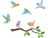 Branch and Watercolor Birds Wall Decals - Birds and Branch Fabric Wall Decals