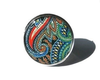 PAISLEY RING  - abstract colorful Ring -  paisley design - hippie jewelry - indian jewelry - boho ring - Paisley Jewelry
