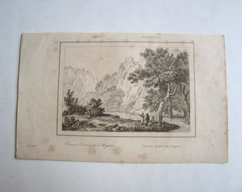 1835 original engraving/ plate, Onocaris sources of Angitas, Greece