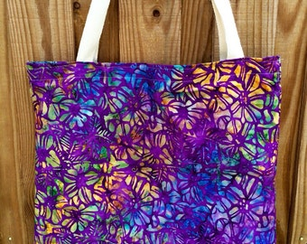 Batik Cotton Reversible Tote!