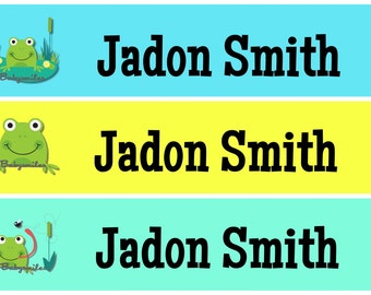 Personalized Waterproof Labels Waterproof Stickers Name Label Dishwasher Safe Daycare Label School Label - Cute Lil Frog