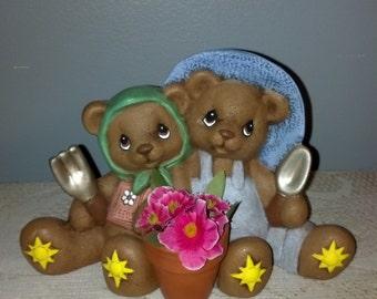 Hand Painted Ceramic Gardening CUDDLE Bears