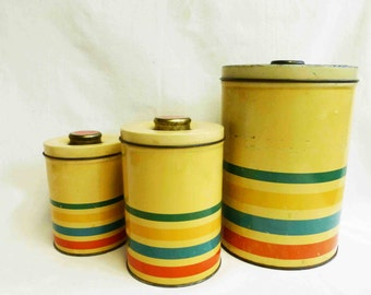 Cannister Set  Vintage Tin with Stripes