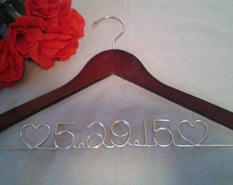Wedding Date Dress Hanger, Date Hanger, Mrs Hanger, Wedding Day Dress Hanger