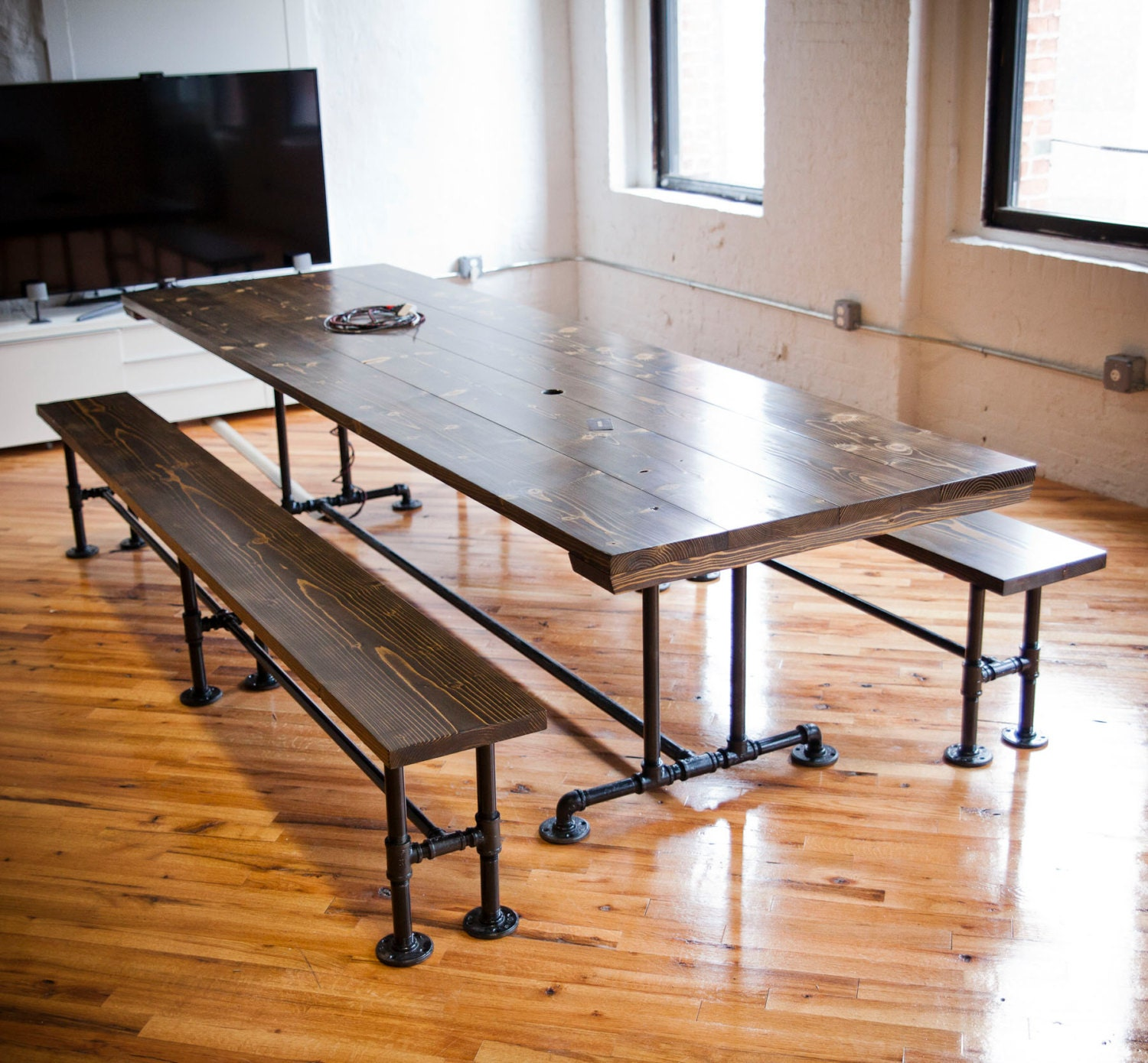 Counter Height Industrial Conference Table Solid by EmmorWorks