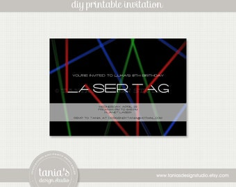 Laser Tag Birthday Invitation Printable by tania's design studio