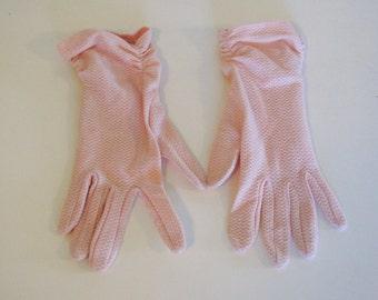 Vintage Women's Pink Short Cloth Gloves