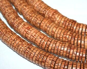 4 x 20 Palmwood Heishi Rondelle Beads Large, 8 Inch Strand, 50 Beads