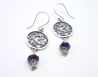 Garden Theme Little Lace Leaf Amethyst Earring - Handmade in Sterling Silver