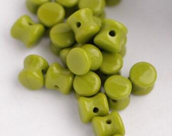 4x6mm 50pcs Czech Glass Pellet Beads Opaque Olivine Diabolo Beads Olive Green