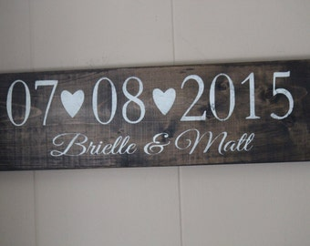 Wedding Date Sign, Wedding Name Sign, Rustic Wedding
