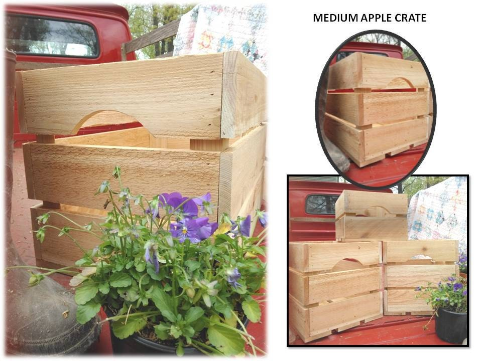 Rustic reclaimed wood upcycled apple crate books toys produce for Apple crate furniture
