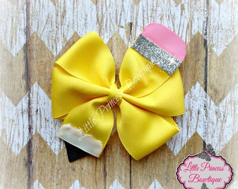 Back to School, Back to School Hair Bows, Pinwheel Hair Bow, Pencil Hair Bows, Yellow Hair Bows, Small Bows