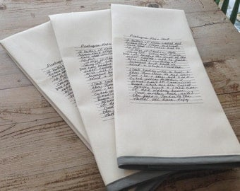 Dish Towel Using Handwritten Recipe