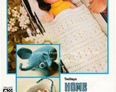 Vintage Toy Crochet Pattern for elephant, cot or crib doll blanket set and toy cradle PDF 559 from WonkyZebra