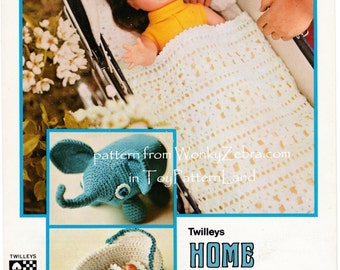 Vintage Toy Crochet Pattern for elephant, cot or crib doll blanket set and toy cradle PDF 559 from ToyPatternLand and WonkyZebra
