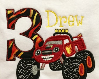 Blaze Birthday Applique Tee Shirt with Number and Name