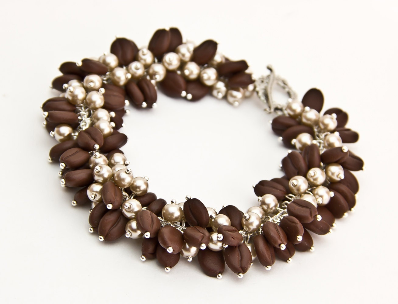 bracelet with coffee beans cappuccino jewelry brown