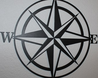Compass Rose Silhouette Nautical Metal Wall Art Home Decor Flat Black