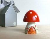 Teeny Tiny Wooden Fairy House - Red White stem Toadstool / Mushroom