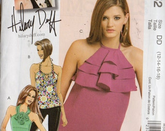 HALTER TOPS McCall's Hilary Duff Pattern 5852 Misses Sizes 12 14 16 18