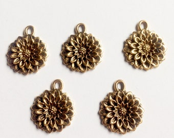 FIVE (5) Carnation Charms