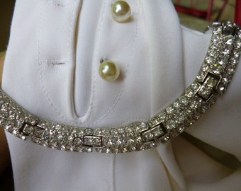 ORA Signed Neckalce, Deco Design Gorgeous Clear Rhinestone Necklace, Well Made